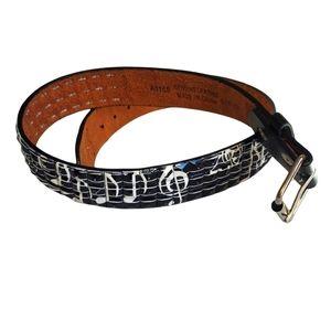 Fashion belt genuine leather mosaic sheet music theme black white sized 30-32